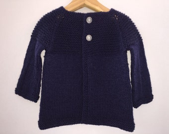 Baby Cardigan  - Hand Knitted Navy Wool with Vintage Yacht Buttons