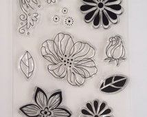 9 pieces Flower Rose Leaf Set Clear Silicone Acrylic Rubber Stamp Scrapbook Cardmaking unmounted Stamps