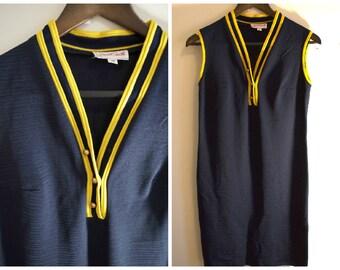 1960s Summer Dress - Navy Tennis Dress