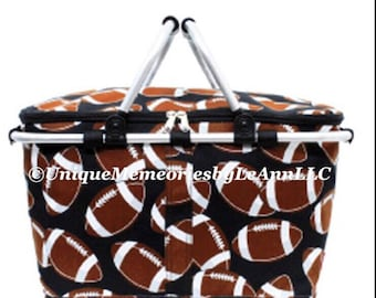 Sports Themed Football, Baseball,Soccer or Softball insulated Picnic Basket FREE Monogram or Name -Tailgating, Sports events, Housewarming