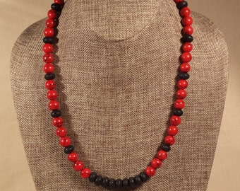 Necklace of Red Coral and Black Lava Bead, handmade beaded jewelry, gift, 22 inch necklace