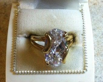 Cubic Zirconia Diamond Ring Size 9 Gold Tone