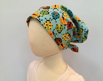 Mia Children's Head Cover, Girl's Cancer Headwear, Chemo Scarf, Alopecia Hat, Head Wrap, Cancer Gift for Hair Loss - Turquoise Lady Bugs
