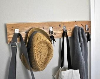 Distressed Wood Coat Rack - Coat Hooks - Hat Rack - Key Hooks
