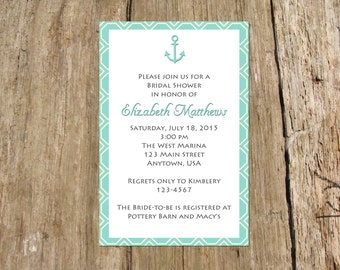 Anchor Nautical Wedding Shower Invitation, Digital Printable File