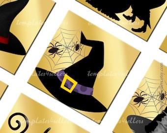 Digital Collage Sheet  Halloween Black on Gold 1x1 inch square images Scrapbooking Pendants Printable Original  Printable 4x6 inch sheet 195