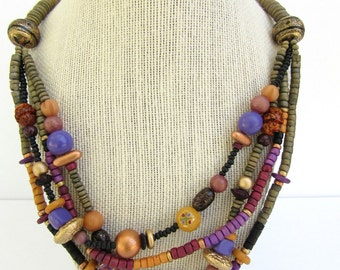 Vintage Wood Boho Multi-Strand Necklace, 1950's/60's  Statement Piece
