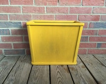 Vintage Mid Century Modern Nucraft Waste Basket Wood Yellow Paint Newspaper Stand Living Room Decor