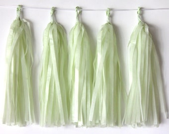 """Tissue Paper Tassel Garlands 5 Light Green Tassel Garlands Birthday Baby Shower Wedding Party """"Same Day Shipping"""""""