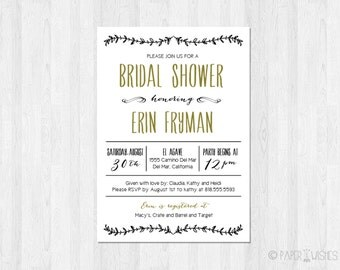Bridal Shower Invitation Printable File
