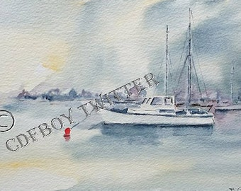 "Original Watercolour Seascape "" In the Mariner """