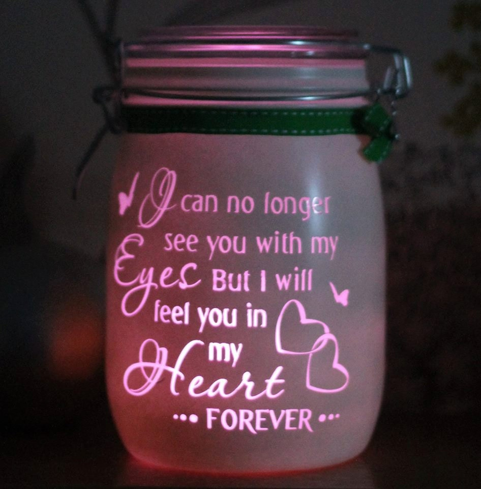 Memorial gift personalised glass memory candle jar i can no for Things to get mother for christmas