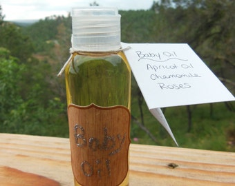 Homemade Organic Natural Baby Oil -Apricot oil, roses, & chamomile