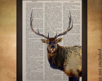Elk Dictionary Art Print Stag Antlers Wildlife Animal Upcycled Book Page Wall Art Home Decor da892