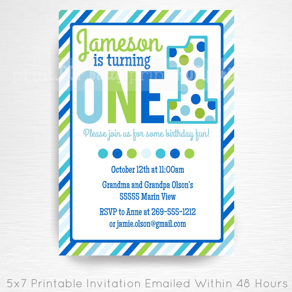 Blue Green First Birthday Party Printable Invitation YOU Print