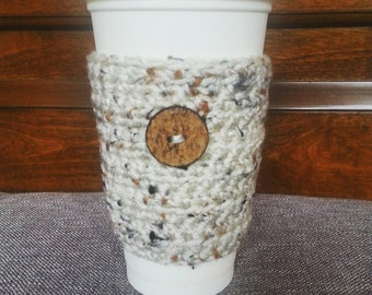 Crochet Travel Mug Sleeve in Rustic Beige