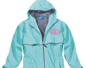 FREE SHIPPING! Monogrammed Rain Jacket-Charles River Rain Coat- Women's Rain Coat- Monogrammed Full Zip Charles River Rain Jacket-Sorority