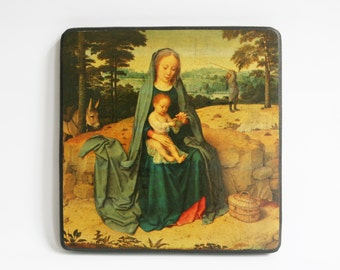 Virgin Mary and baby Jesus wall plaque, religious icon, antique painting reproduction on paper mounted on wood, wall hanging, wall art