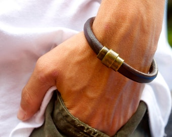 Graduation Gift for Him, Mens Handmade Bracelet, Leather Cord Bracelet, Guy Jewelry, 40th Birthday Husband, 3rd Anniversary, Gift Idea