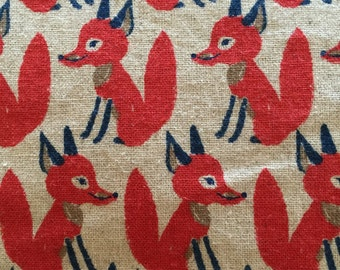 Red Foxes on Linen