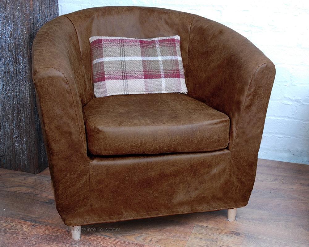 Ikea Tullsta Slipcover Dark Tan Distressed Leather Look Fabric