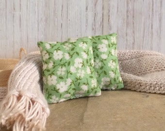 1 1/2 inch Shabby Chic Handmade Miniature Dollhouse Throw Pillow Set - Vintage Green with Off White Flowers
