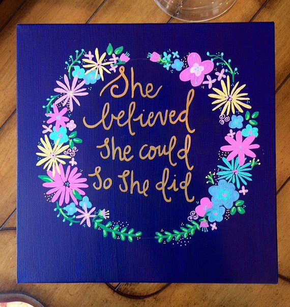 Quote Blue Gold Canvas Painting Home Decor Wall by GlassyGurlz