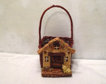 Rustic, Wicker, Woven, Basket, Country, Barn, Farm, Small, Pig Figurine, Scene, Desk, Handle, Storage, Farmhouse, Chic, Brown, Planter, Gift