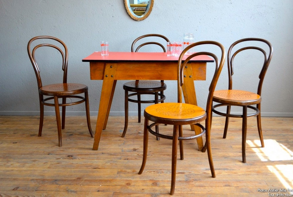Chaises bistrot fischel bois courb vintage r tro for Chaise bistrot cannee bois