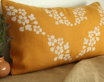 Pillow cover, 16x26 inches, gold linen, hand painted with white fabric ink, lined with undyed linen, gold cushion cover