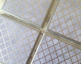 COASTERS! Set of 4 silver geometric ceramic coasters with silver trim