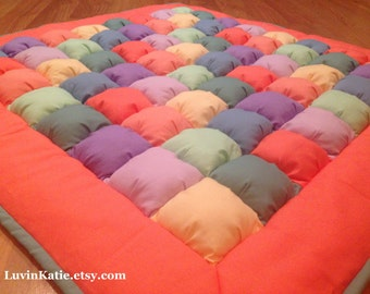 Bubble Quilt Puff Quilt for Baby Floor Time Tummy Time Mat CORAL TEAL PURPLE