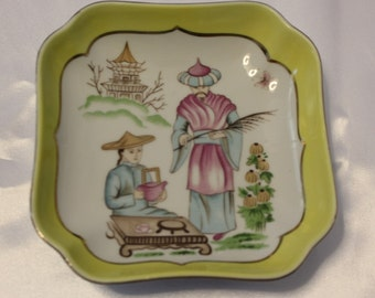 Vintage Towle Fine Porcelain dish Made in Japan Yellow Candy Dish