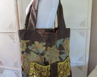 Mosaic Print Sequined Fashion Tote Bag Mixed Media Bag