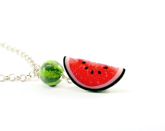 Watermelon Necklace pendant  - Watermelon necklace - Polymer clay jewelry - Handmade jewelry - Fruit pendant