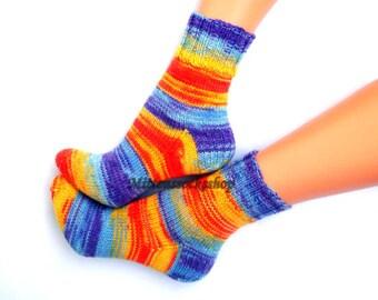Orange Blue Yellow Purple Hand Knit Socks Warm Socks Bright Orange Blue Women's Socks Colorful Yellow Purple Girl's Socks Winter Socks Gift