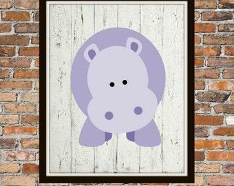 Purple Hippo Nursery Art - Hippo, Purple and White, Nursery, Nursery Art, Baby Nursery Art, Nursery Print, Animal Print, Animal Art