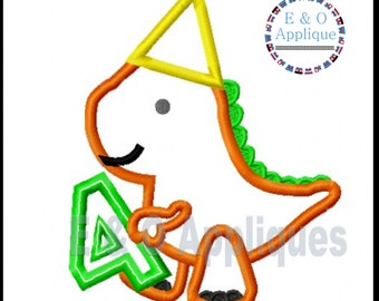 Dino 4th Birthday Applique Design -  Dinosaur Applique Design - Birthday Applique Design