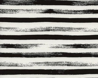 Sale Fabric - Cotton and Steel Fabric - Gust Stripes in Midnight Black - Modern Fabric by the Yard - Fat Quarter - Scrap Fabric
