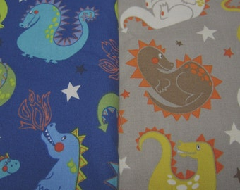 Alexander Henry Baby Dragon Cotton Fabric in Choice of Blue or Taupe designed by De Leon Design Group