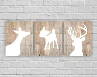 INSTANT DOWNLOAD Rustic nursery Prints Deer Head Fawn silhouette Wooden boards wall art decor prints Set of 3, 8x10