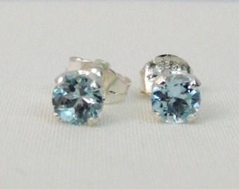 Aquamarine Post Earrings in Sterling Silver, Aquamarine Jewelry, March Birthstone, 5mm Aquamarine Stud Earrings, Aquamarine Earrings