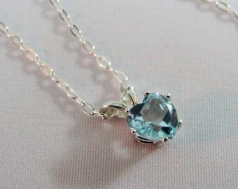 Sky Blue Topaz Heart Necklace in Sterling Silver, Topaz Gemstone, December Birthstone, Minimalist Necklace,Blue Topaz Jewelry, Topaz Pendant