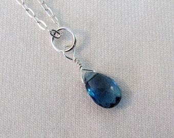 London Topaz Necklace in Sterling Silver, London Blue Topaz Gemstone, December Birthstone, Minimalist Necklace, London Blue Topaz Jewelry