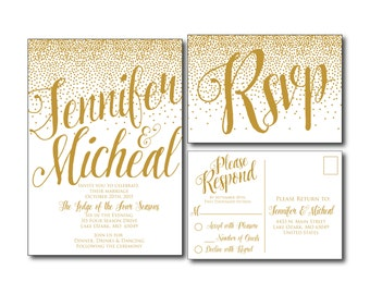 Gold Wedding Invitation - Gold Sparkles - Printable Wedding Invitation - Rsvp Postcard - Wedding Rsvp - RSVP Card - Printable File