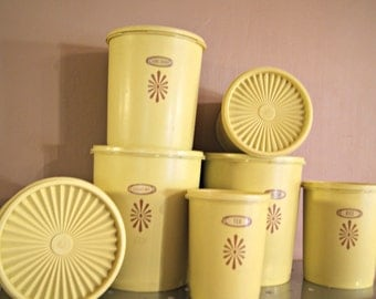 1970's Yellow Tupperware Containers, Set Of  7 With Labels..