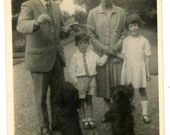 1920s Family & Begging Dogs Real Photo Postcard Antique Vintage RPPC Scottie Spaniel