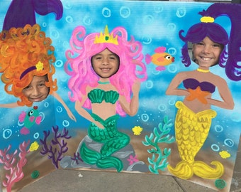 Mermaid Party- Mermaid Birthday- Mermaid Cutout- Mermaid Photo Stand In- Mermaid Face In The Hole- Mermaid Backdrop- Mermaid Decorations-