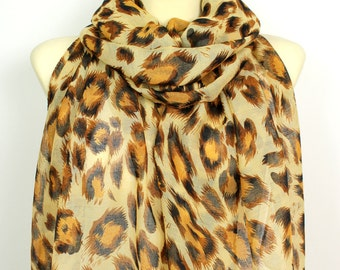 Brown Leopard Print Scarf - Animal Print Scarf - Traditional Scarf - Leopard Fabric Scarf - Women Fashion Accessories - Gift Idea for her