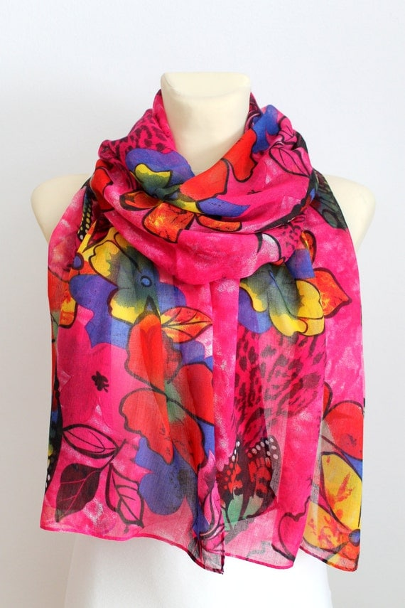 Pink Butterfly Scarf - Floral Print Scarf - Unique Fabric Scarf - Boho Gift idea for Women - Women Fashion Accessories - Autumn / Spring